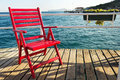Red Beach Chair Stock Images - 46424154