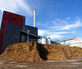 Bio Power Plant With Storage Of Wooden Fuel And Blue Sky Stock Photo - 46427030