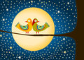 Birds Moon And Stars Greeting Card Stock Photography - 46433242