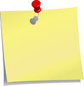 Yellow Note And Red Push Pin Stock Images - 46435624