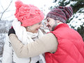 Happy Couple Kissing In Winter Royalty Free Stock Image - 46446316