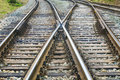 Railway Track Lines Before The Rail Station Stock Photos - 46459643