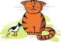 Vector Illustration Funny Cat And Bird Royalty Free Stock Images - 46461179