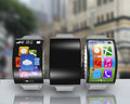Group Of Ultra-lightweight Curved Screen Smartwatch With Steel W Royalty Free Stock Photo - 46461605