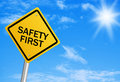 Safety First Road Sign Royalty Free Stock Image - 46468506
