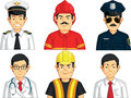 Profession - Construction Worker, Doctor, Fire Fighter, Pilot, Police, Office Worker Stock Images - 46469254