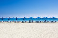 Many Beach Chairs And Umbrellas On White Sand Sea Beach With A Blue Sky. Royalty Free Stock Photography - 46470077