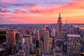 New York City Midtown With Empire State Building At Amazing Sunset Royalty Free Stock Photos - 46472218
