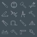 Carpentry Tools Icons Outline Royalty Free Stock Photos - 46483978