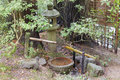 Tsukubai Water Fountain And Stone Lantern In Japanese Garden Stock Image - 46489491