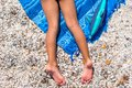 Closeup Of Little Girl Legs On Tropical Beach With Royalty Free Stock Photos - 46496478