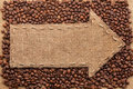 Pointer Of Burlap With Place For Your Text, Lying On A Coffee Be Royalty Free Stock Photos - 46517538