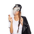 Young Girl In Sunglasses And Black Leather Jacket Smoking Cigar Royalty Free Stock Photos - 46517788