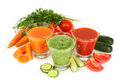 Fresh Tomato, Carrot And Cucumber Juice Isolated On White. Royalty Free Stock Photos - 46524548