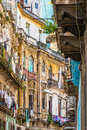 Shabby Buildings In Old Havana Royalty Free Stock Image - 46526516
