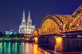 Cologne Cathedral And Bridge Night Scene Royalty Free Stock Photos - 46528808