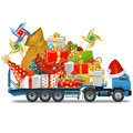 Vector Trailer With Christmas Gifts Stock Photography - 46535492