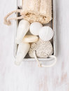 White Spa Bathroom Set With Salt Balls And Lotion In Metal Box Stock Photos - 46541103