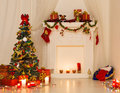 Christmas Room Interior Design, Xmas Tree Decorated By Lights Royalty Free Stock Photography - 46544937