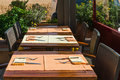 Set Tables At Outside Dining Area Stock Image - 46548491