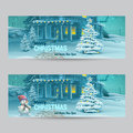 Set Of Horizontal Banners With Christmas And New Year With The Image Of A Snowy Night With A Snowman And Christmas Trees Stock Photo - 46571820