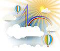 Abstract Paper Cut With Sunshine, Cloud,rainbow And Balloon On Light Blue Background With Blank Space For Design Royalty Free Stock Photo - 46572775