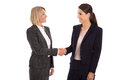 Team: Two Isolated Businesswoman Shaking Hands Wearing Business Royalty Free Stock Photos - 46573708