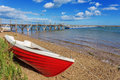 Red Fishing Boat On The Shore. Stock Photos - 46578443