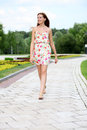 Young Woman Walking On The Summer Park Stock Images - 46585074