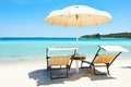 Beach Chair With Umbrella Royalty Free Stock Photo - 46593215