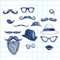Blue Hipster Doodle Elements Stock Image - 46594551
