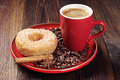 Breakfast With Donut And Coffee Royalty Free Stock Photo - 46594765