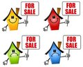 Cartoon Houses For Sale Signs Royalty Free Stock Photography - 4662877