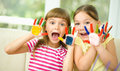 Little Girls Are Painting With Gouache Royalty Free Stock Photography - 46618507