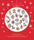 Greeting Card With Christmas Gingerbreads Stock Photos - 46631313