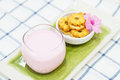Milk And Cookie (pineapple Flavor) On Plate. Royalty Free Stock Images - 46636459