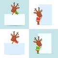 Christmas Reindeers With Posters Stock Photography - 46642782