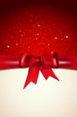 Christmas Card With Red Bow, Shiny Stars And Place For Your Mess Royalty Free Stock Photos - 46645538