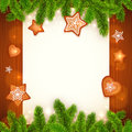 Vector Paper Sheet With Gingerbread And Fir Tree Royalty Free Stock Images - 46650119