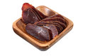 Basturma, Dried Tenderloin Of Beef Meat, Thinly Sliced, On White Stock Image - 46656461