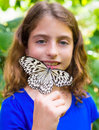 Girl Holding Rice Paper Butterfly Idea Leuconoe Royalty Free Stock Images - 46658279