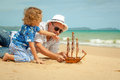 Father And Son Playing On The Beach At The Day Time. Stock Image - 46662901