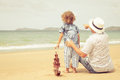 Father And Son Playing On The Beach At The Day Time. Royalty Free Stock Image - 46662986