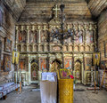 Iconostasis In The Wooden Church Royalty Free Stock Photography - 46666517
