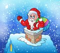 Santa Claus On Snowy Roof Royalty Free Stock Images - 46669999