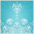 Blue Wedding Invitation Design Template With Doves, Hearts. Royalty Free Stock Photography - 46672537