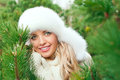 Woman In A Hat, Mittens, Scarves, Sweaters, Fur In Winter Fir Forest Stock Images - 46672814