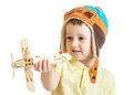 Happy Child Boy Dressed Pilot Hat And Playing With Stock Images - 46676254