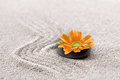 Zen Sand Garden With Orange Flower Stock Images - 46679304