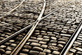 Tram Rails On The Cobblestones Of The Street Royalty Free Stock Image - 46681826